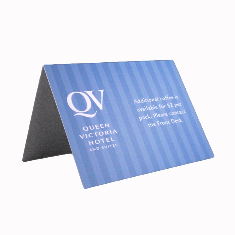 Tent cards hospitality west printing promotional products for the hospitality industry for Printable tent card